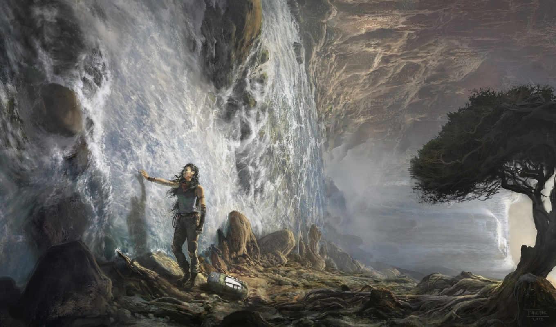 девушка, matczak, michal, дерево, арт, вода, водопад, сюрреализм, картинка, картинку, кнопкой, правой, мыши, fantasy,
