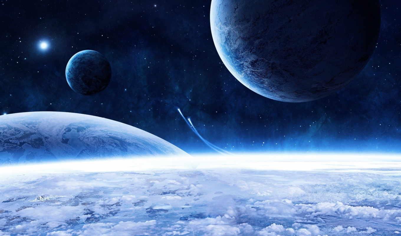blue, space, голубая, планеты, фотообои, звезды, облака, красота,