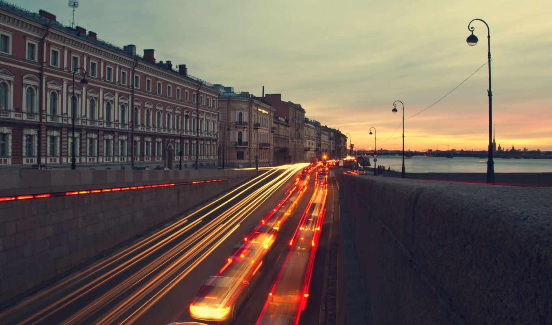 санкт, петербург, вечер, улица, город,