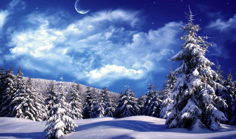 winter, года, снег, пейзажи -, природа, небо, луна,
