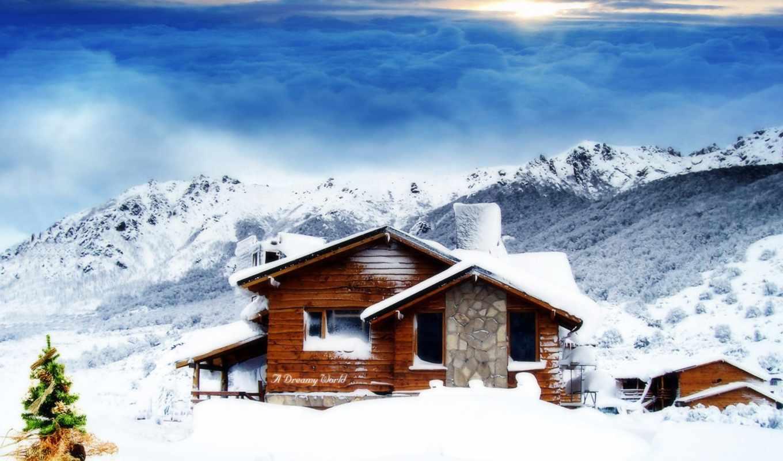 lodge, winter, лес, гора, солнечный, природа