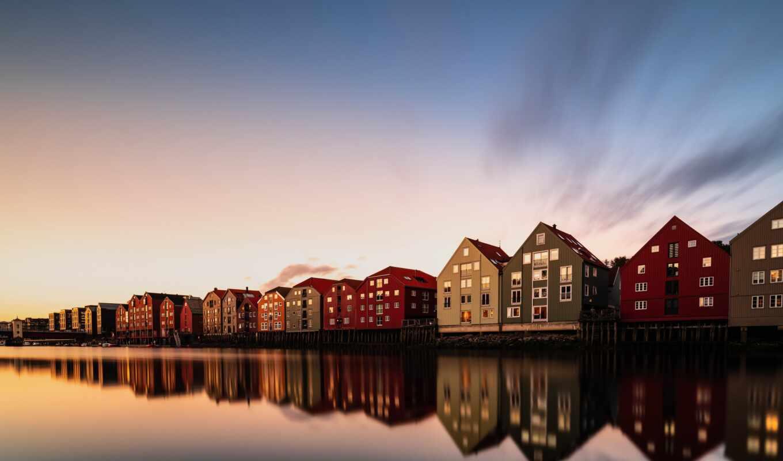 trondheim, норвегия, мост, town, река, canal, европа, architecture, build, italy