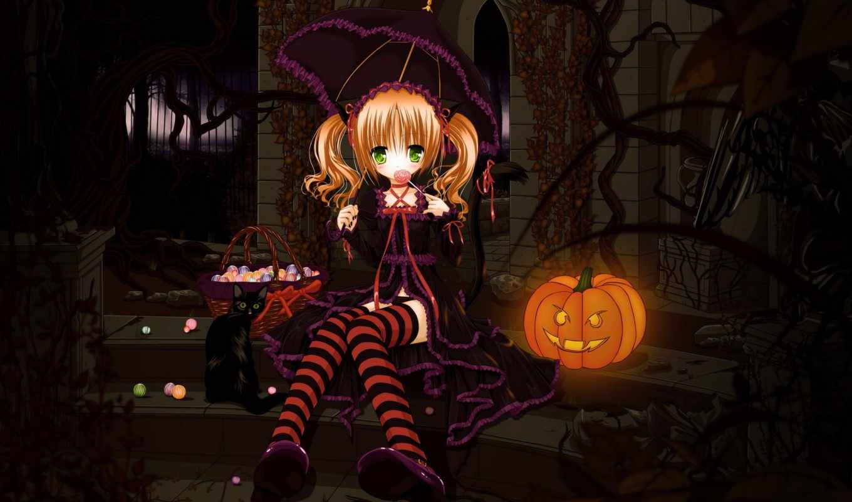 girl, halloween, anime, wallpaper, cat, cute, high