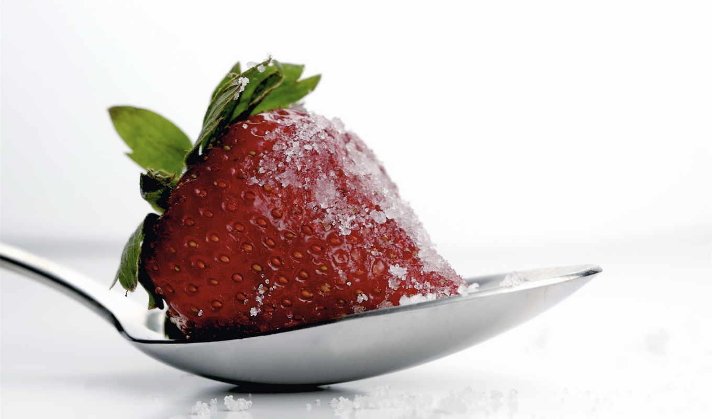 сахар, strawberries, клубника, ложка, макро,, spoons