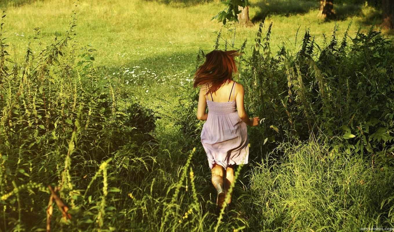 summer, девушка, трава, зелёный, убегает,