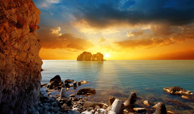 ,солнце, more, zakat, тучи, скалы, вечер,