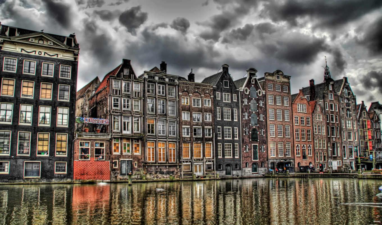 amsterdam, нидерланды, природа, канал, амстердам,