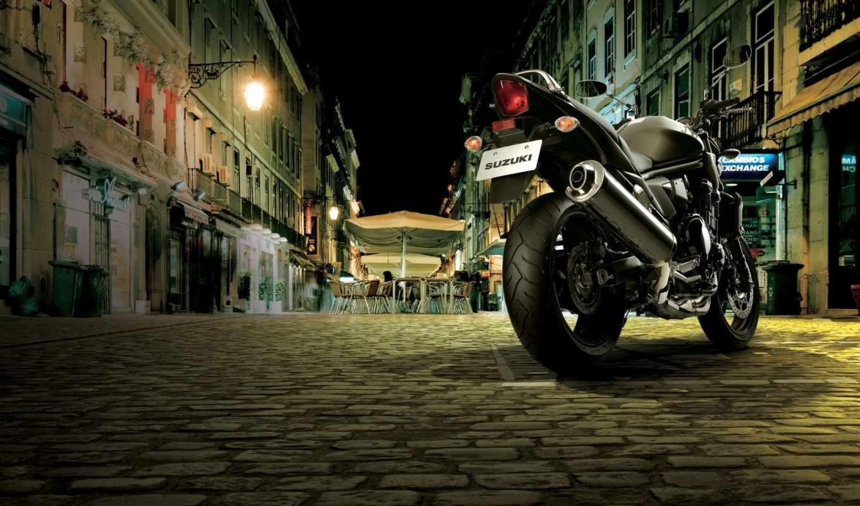 suzuki, бандит, улице, ночь, февр, мотоцикл,