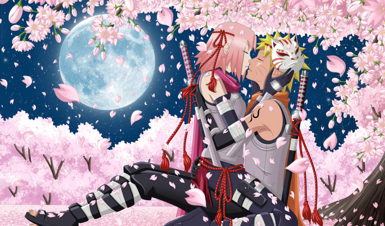 naruto, anime, uzumaki, hanabi, art, rin, парень, девушка, луна, ночь,
