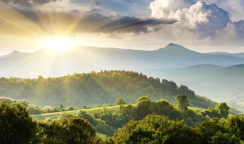 природа, trees, холмы, landscape, зелёный, небо, горы,
