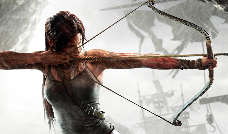 лара, croft, крофт, лука, tomb, raider, лук, девушка, оружие,