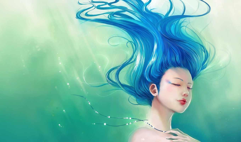 art, девушка, волосы, blue, зелёный, фотообои, frances, anime, ramirez, paolo, жан,