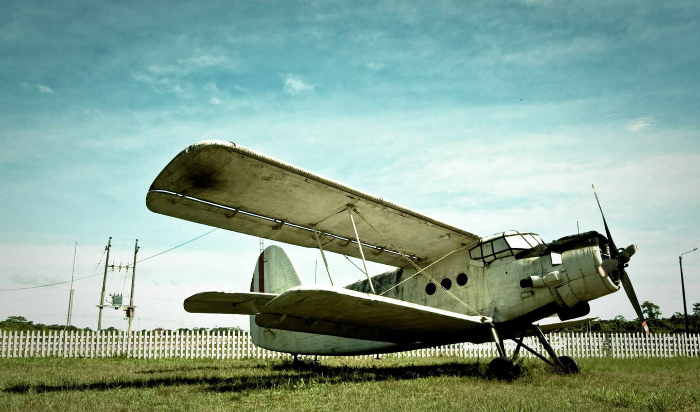 старый, самолёт, небо, трава, забор, авиация,