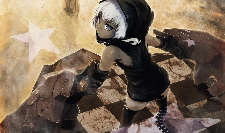 black, rock, shooter, strength, anime, girl, iphone, скалы, стрелок,