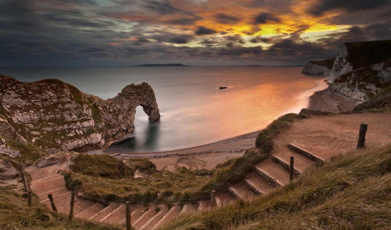 арка, море, скалы, берег, небо,