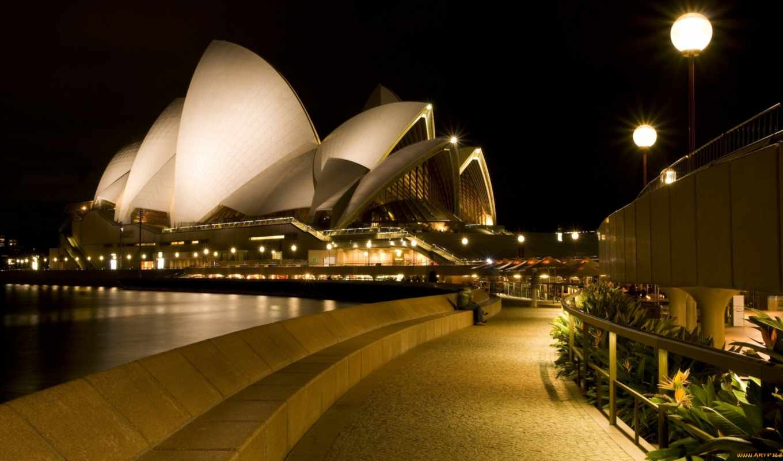 театр, сидней, набережная, вечер, ночь, фонари, opera, sydney, город, австралия, марта,