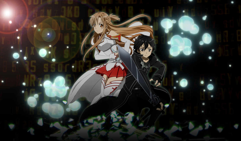 asuna, меча, online, kirito, мастера, меч, art, sao, картинка, anime,