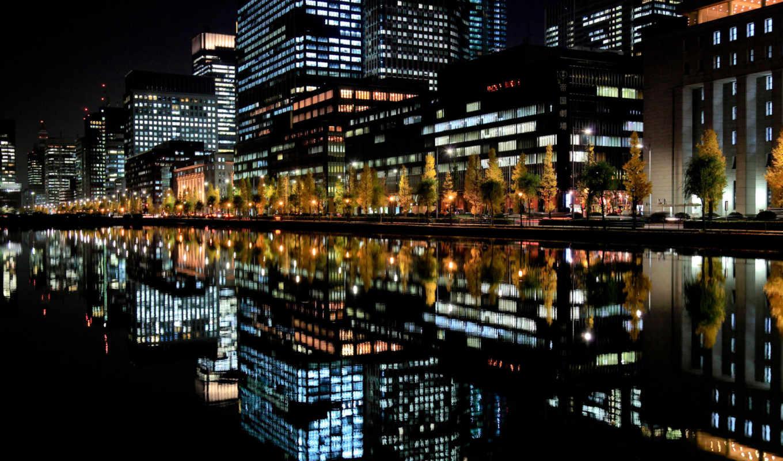 огни, город, ночь, отражение, япония, города, отражение,