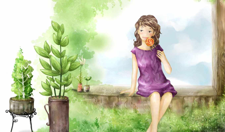 summer, девушка, отдых, drawing, настроение, дачный, vacation, растительный