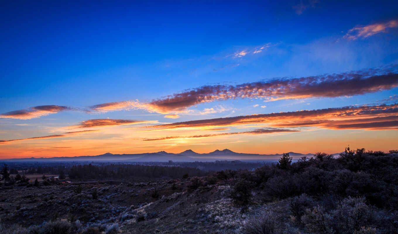 сша, закат, небо, гора, облако, arizon, retina, красивый, каньон