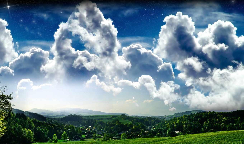 облака, природа, небо, пышные, широкоформатные, над, облаков, стадо, house, progressive,
