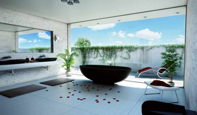 ванная, комната, ванна, ванной, лепестки, dekor, картинку, цветы, комнаты, зеркало, шезлонг,