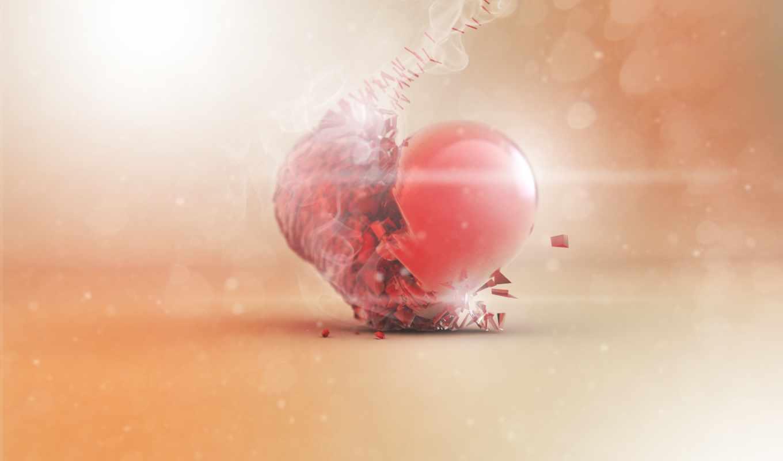 сердце, арт, дым,
