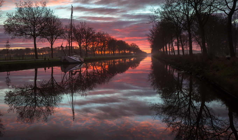 река, лодка, укрась, природа,