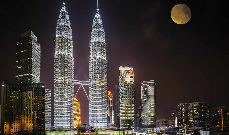 башня, petrona, kuala, lumpur, malaysia, skybar, ночь, луна, небоскрёб, smartphone, планшетный