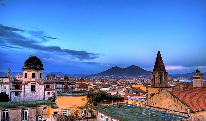 крыши, небо, горы, города, naples, прекрасных, сборник, sfondi, source, картинка,