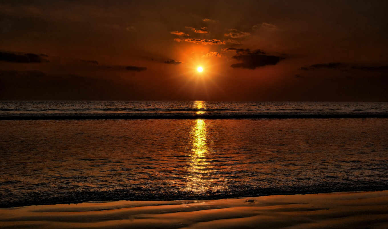 пляж, закат, море, солнце,
