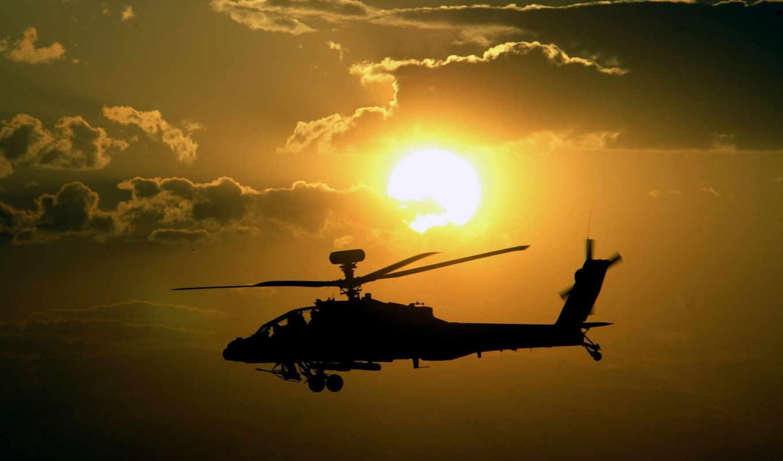 закат, вертолет, небо, вооружение, полет, солнце, апачи, apache,