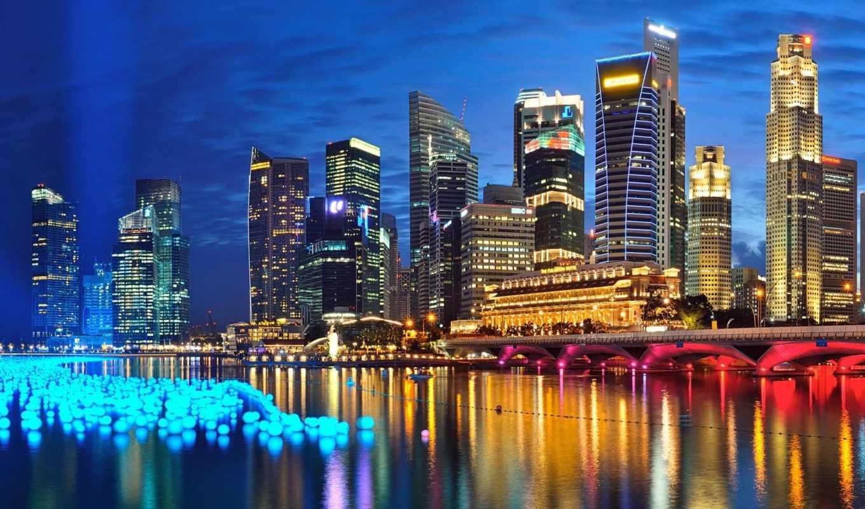 ,сингапур, река, вечер, небо, огни, мост,
