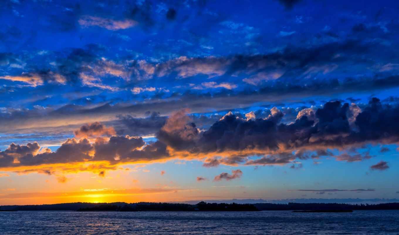 море, балтийское, облака, финляндия, закат, baltic,