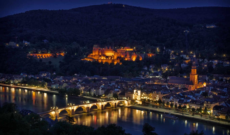 огни, ночь, подсветка, мост, германия, heidelberg, река, город, отражение,