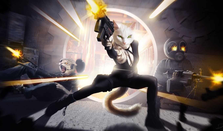 оружие, девушка, парень, кот, art, fantastic, арта, акпп, битва, anim