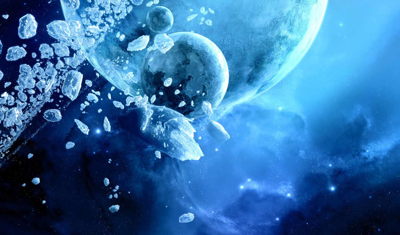 планеты, столкновение, планета, космос, картинка, синий, осколки, ice, planets,