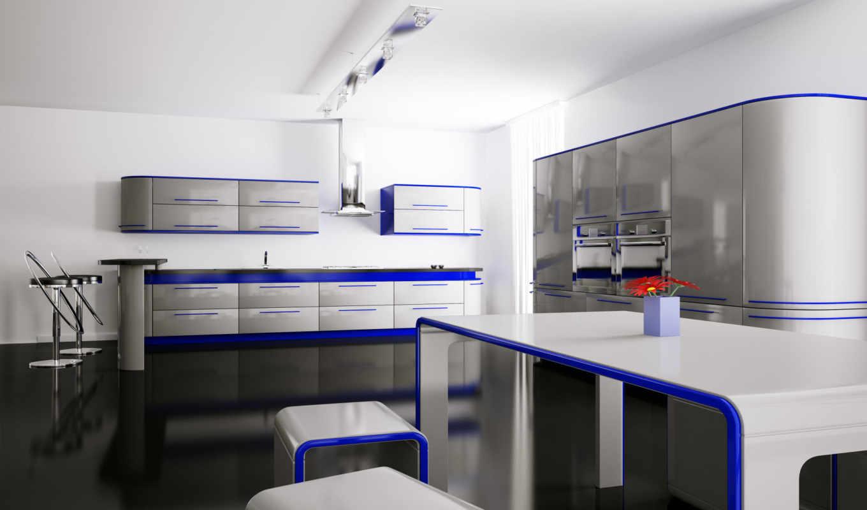 интерьер, кухня, без, регистрации, стулья, комната,