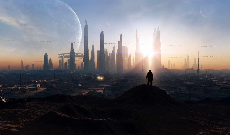 art, будущее, город, восход, красивые, фантастика, sci, здания, картинка, песочница, технологии, мужчина,