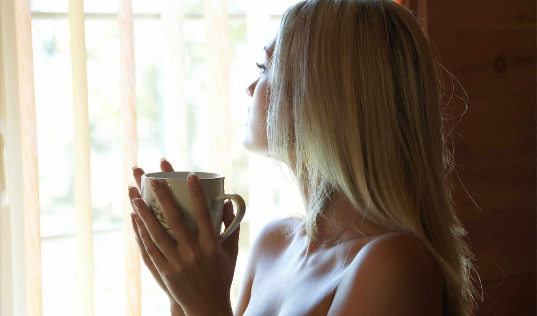 девушка, blonde, окно,