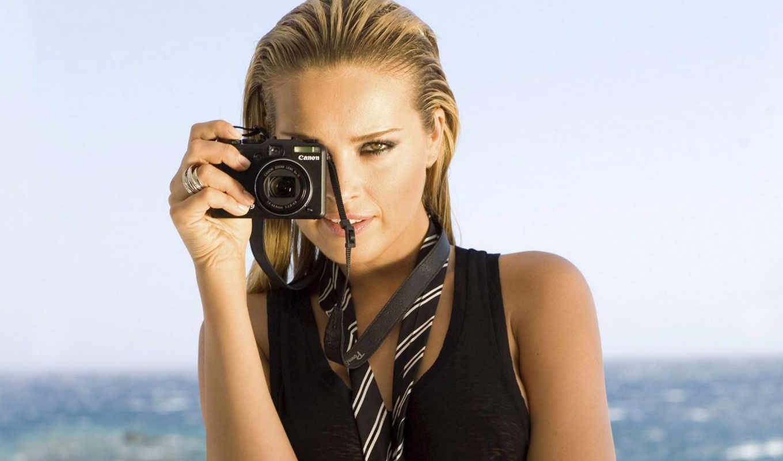 canon, фотоаппарат, девушка, фотоаппаратом,