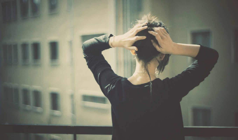 девушка, балкон, взгляд,