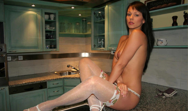 ,девушка, голая,грудь, брюнетка, чулки,