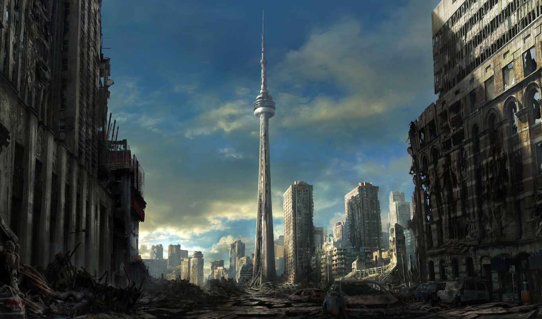 руины, торонто, город, арт, разруха, здания, постапокалиптика, машины, картинка,