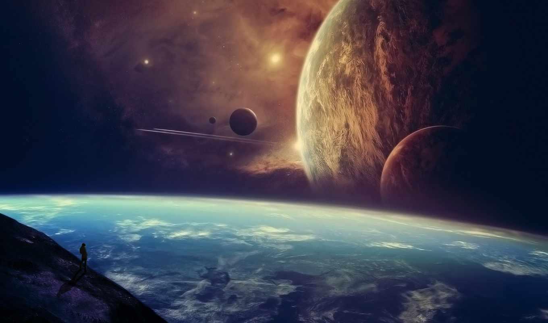мужчина, космос, звезды, планеты, корабли, вид,
