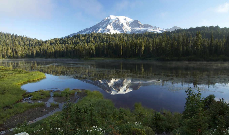 природа, озеро, гора, горы, лес, сша, пейзаж