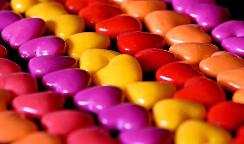 конфеты, драже, сердечки, makro,