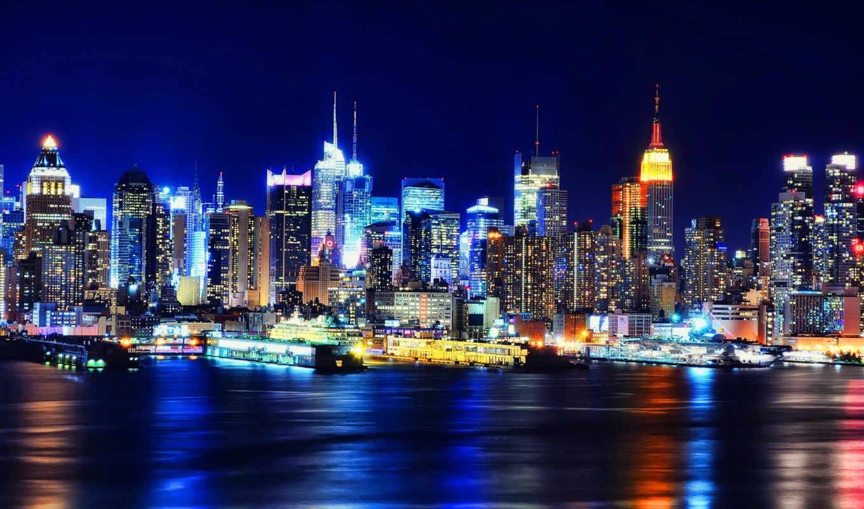 нью, york, огни, ночь, usa, new, manhatten,