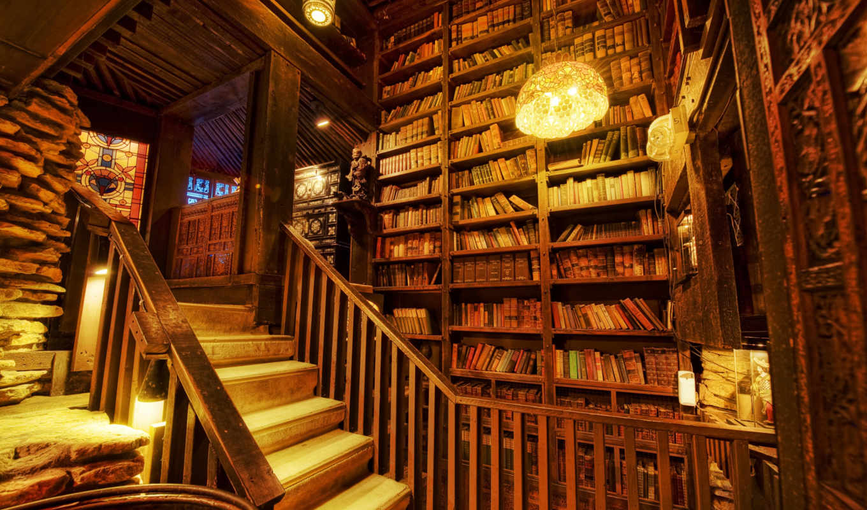библиотека, свет, books, лестница, shelving,