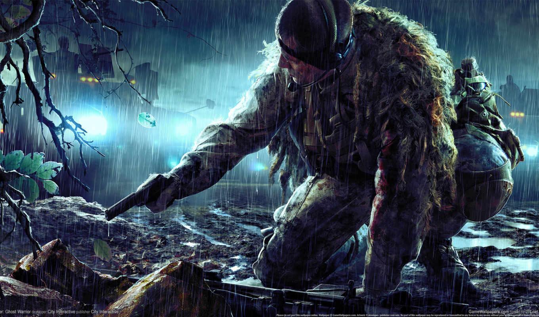 снайпер, засада, ghost, воин, винтовка, высоком, качестве, базе, камуфляж,